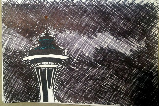 Space Needle Sharpie Drawing
